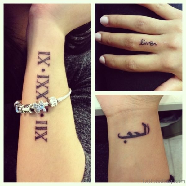 Arabic Words Tattoo On Wrist