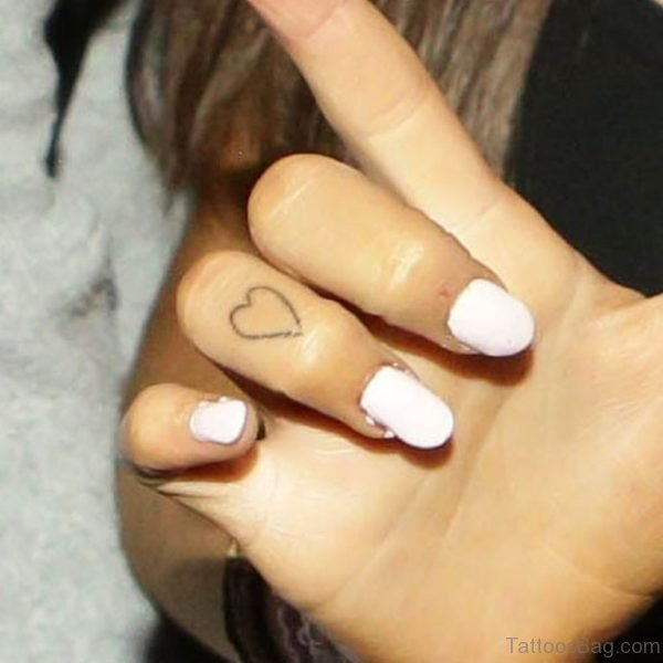 Ariana Grande Heart Finger Tattoo