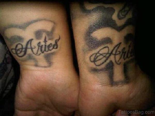 Aries Word Tattoo