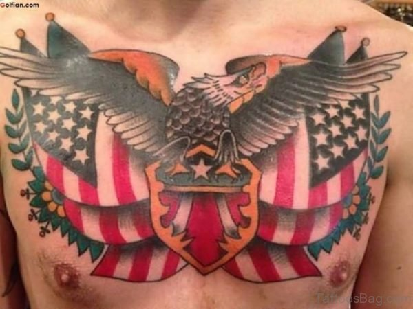 Army Flag And Eagle Tattoo