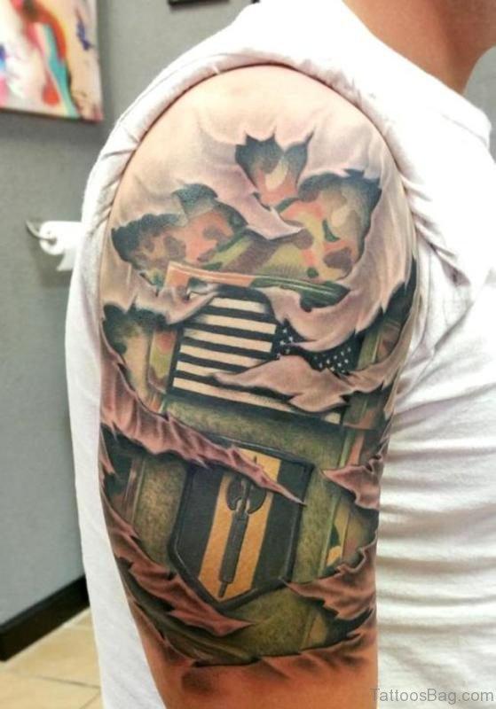 Army Skin Rip Tattoo