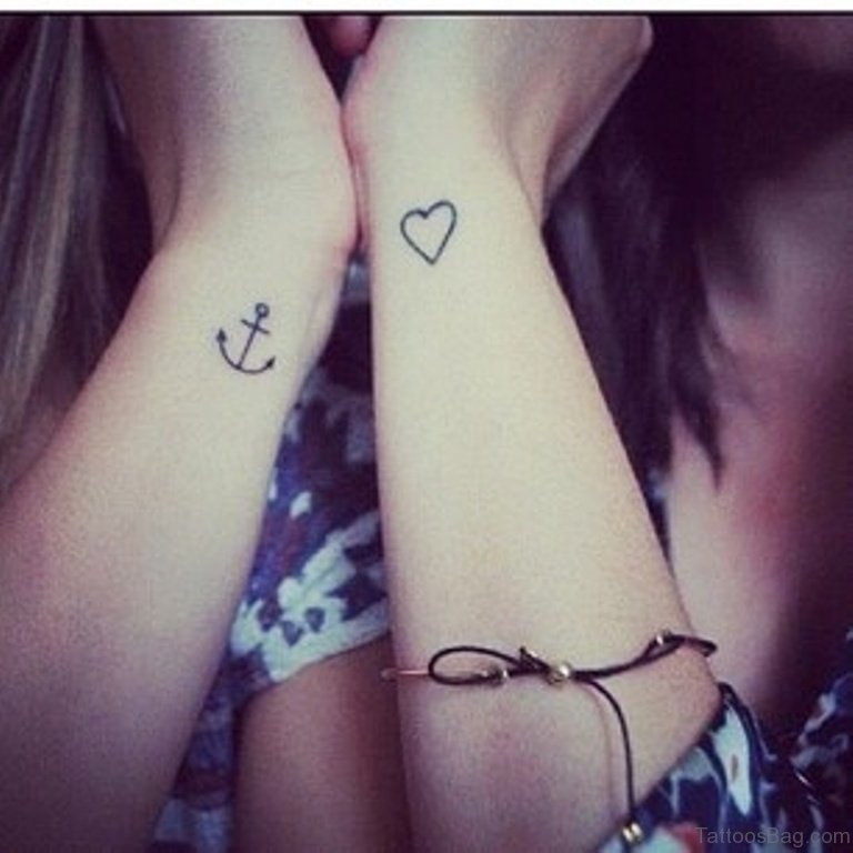 b8c7a8676 Anchor With Balloons Wrist Tattoo. Arrow And Heart Tattoo