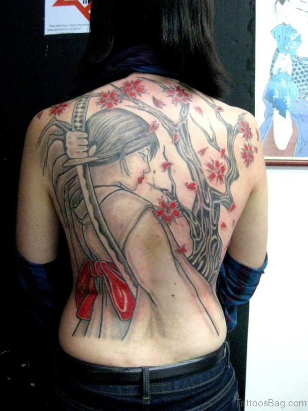 Asian Girl With Sword Tattoo