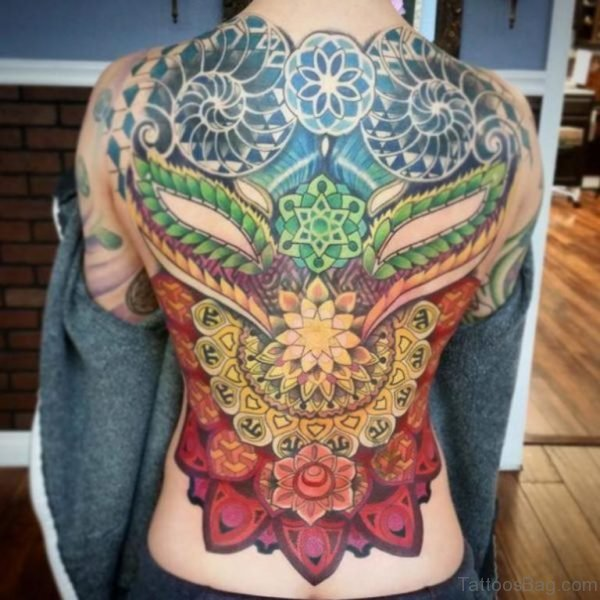 Asian Style Mandalas Full Back Tattoo