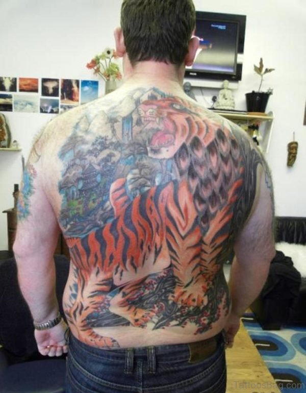 Asian Tiger Tattoo On Back