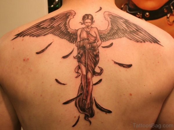 Attractive Angel Tattoo On Back