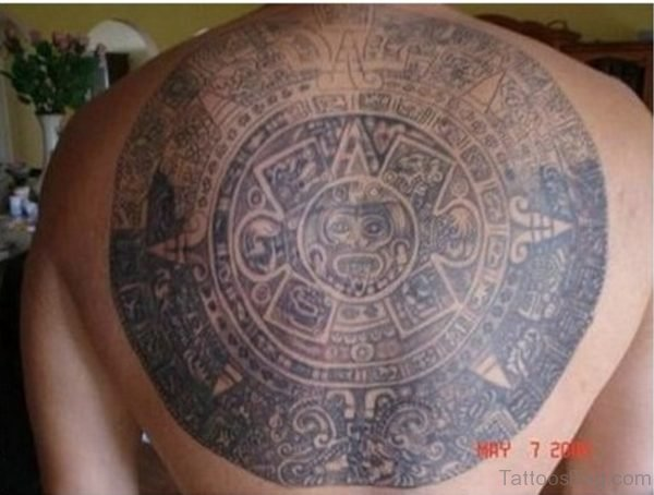 Attractive Aztec Tattoo On Back