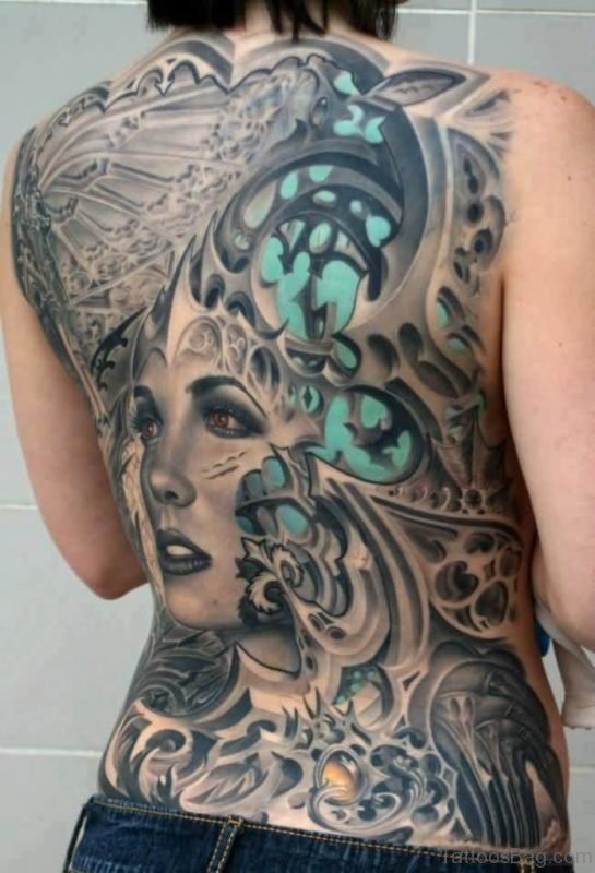 Attractive Biomechanical Tattoo On Full Back