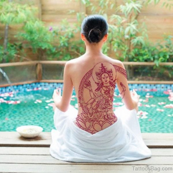 Attractive Buddha Tattoo On Back
