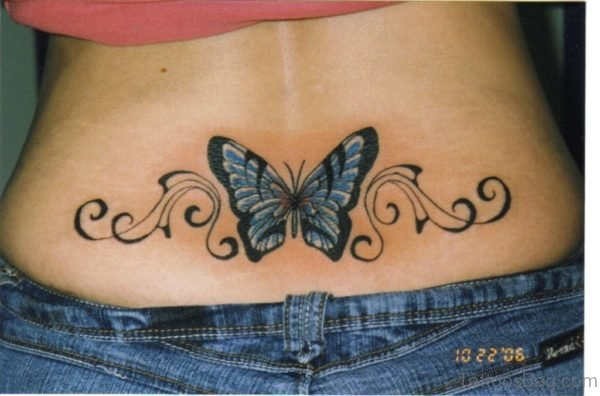 Attractive Butterfly Tattoo On Lower Back