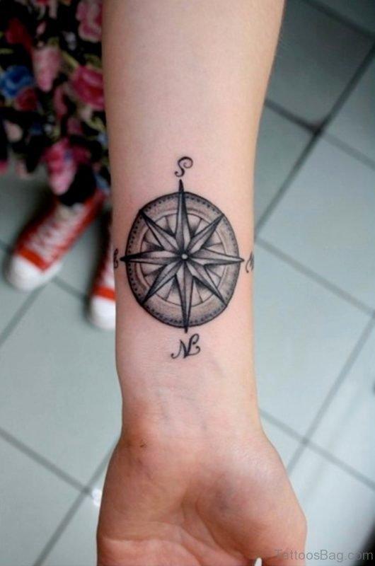 Attractive Compass Tattoo On Wrist
