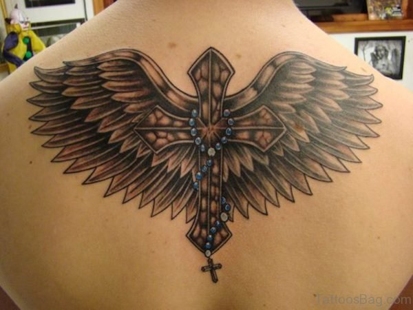 Attractive Cross Wings Tattoo