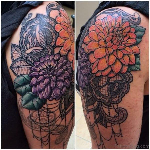 Attractive Dahlia Flower Tattoo