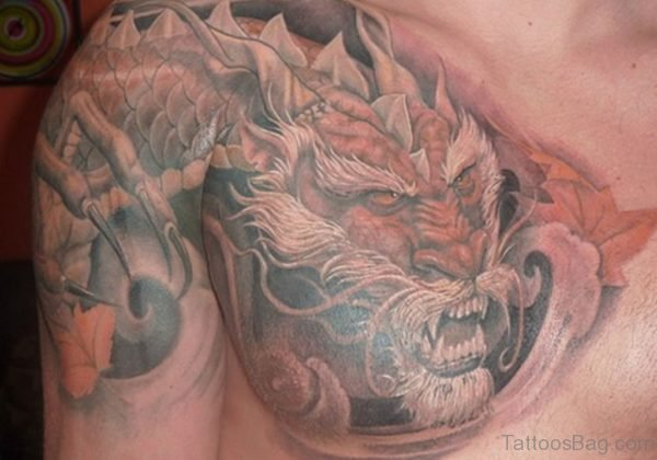 Attractive Dragon Tattoo On Chest