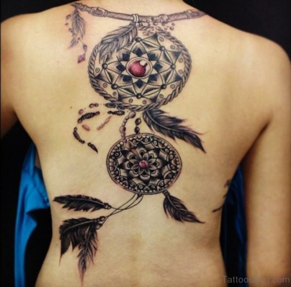Attractive Dreamcatcher Tattoo On Back