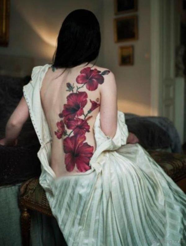 Amazing Flower Tattoo On Back