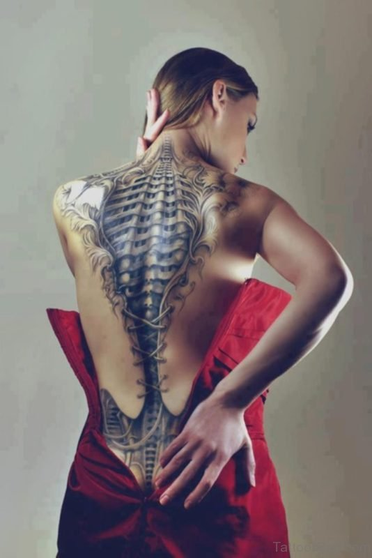 Attractive Full Back Tattoo