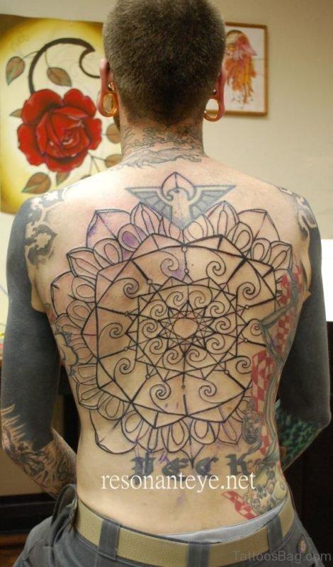 Attractive Geometric Tattoo On Back