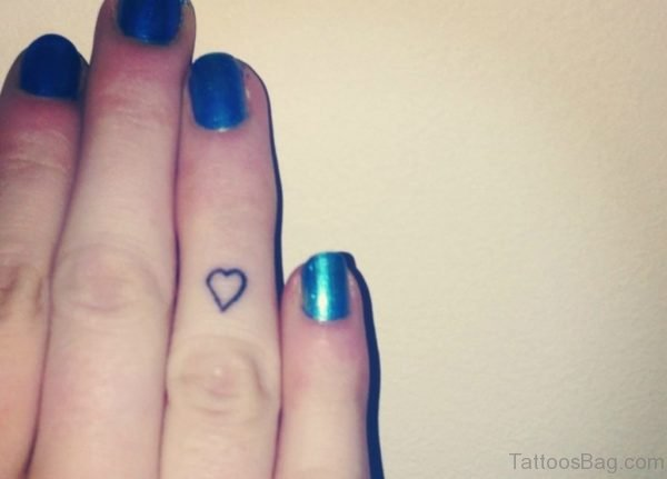Attractive Heart Tattoo On Finger