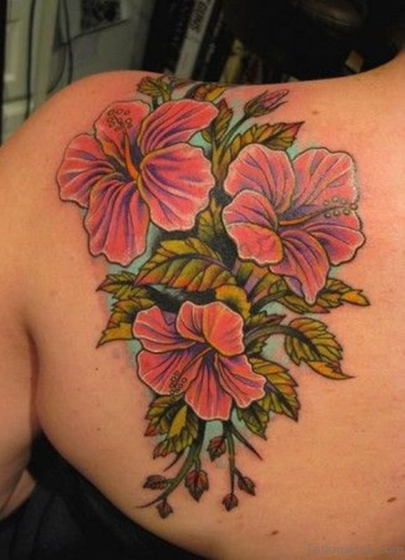 Attractive Hibiscus Flowers Tattoo On Left Back Shoulder