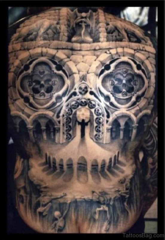 Attractive Horror Tattoo On Back