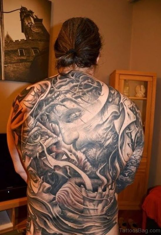 Attractive Jesus Tattoo On Back