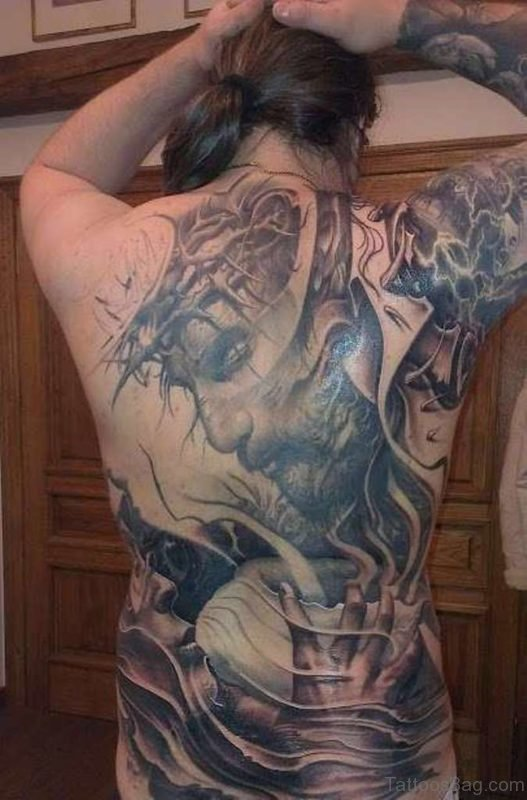 Attractive Jesus Tattoo On Full Back