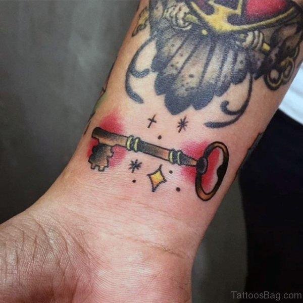 Attractive Key Tattoo On Wrist