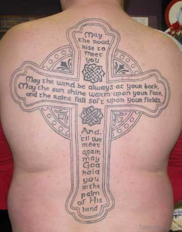 Attractive Lettering And Cross Tattoo