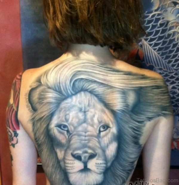 Attractive Lion Tattoo Design On Back