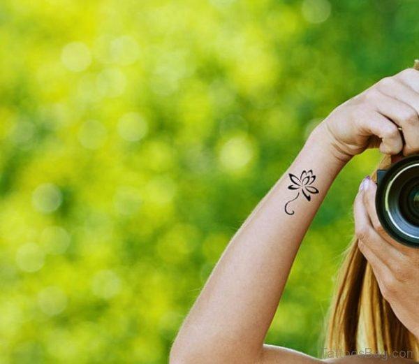 Attractive Lotus Tattoo On Wrist