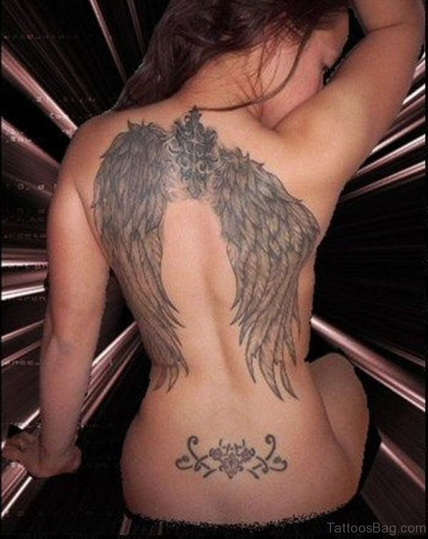 Attractive Memorial Angel Tattoo Girl Back
