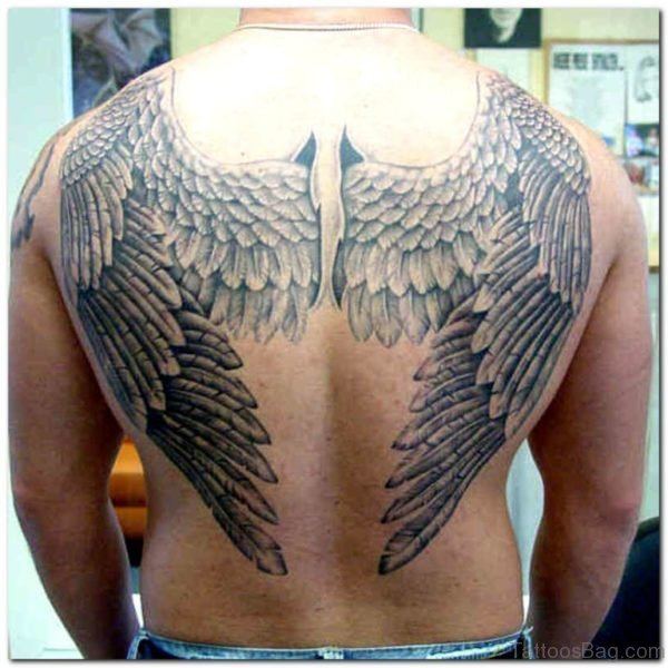 Attractive Memorial Angel Wing Tattoo