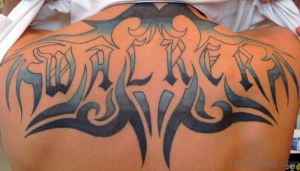 Attractive Name Tattoo On Back