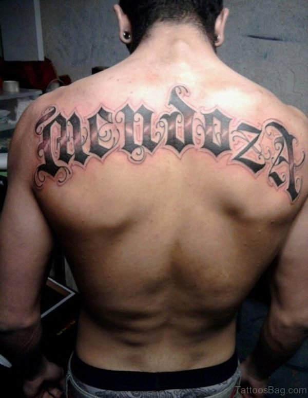 Attractive Old English Tattoo On Back