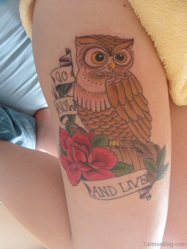 Attractive Owl Tattoo On Thigh