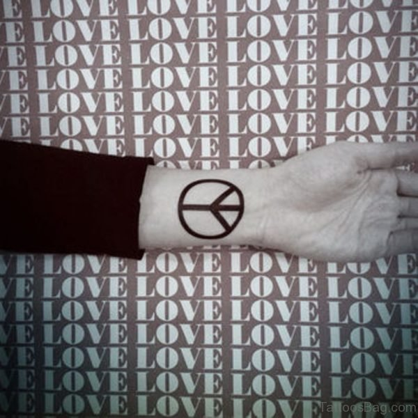Attractive Peace Sign Tattoo