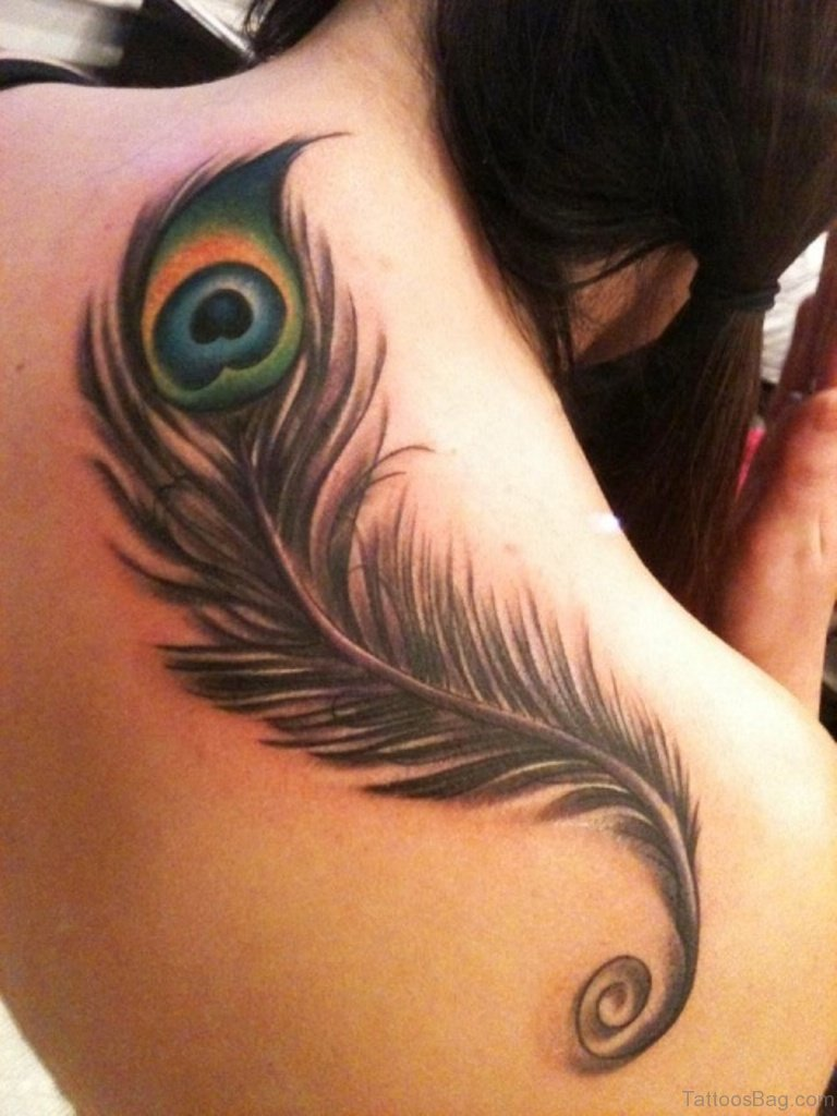 64 classy feather tattoos for back for Peacock feathers tattoos