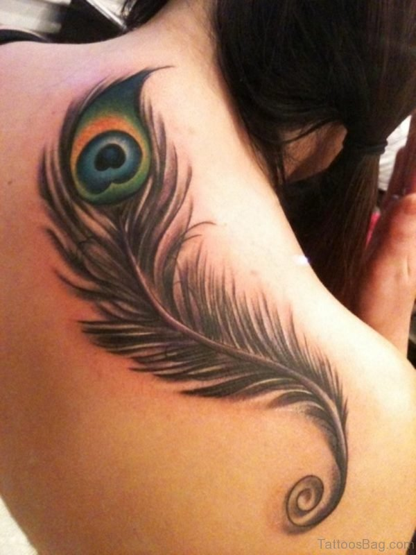 Attractive Peacock Feather Tattoo On Back