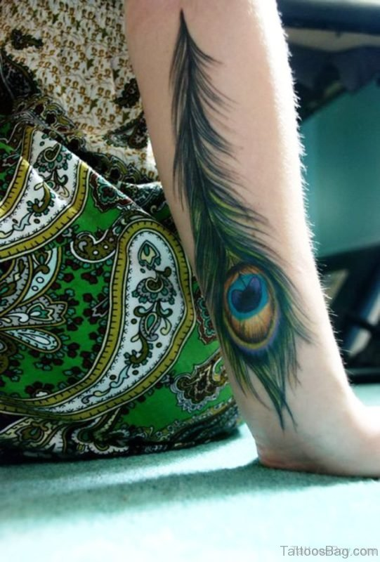 Attractive Peacock Feather Tattoo