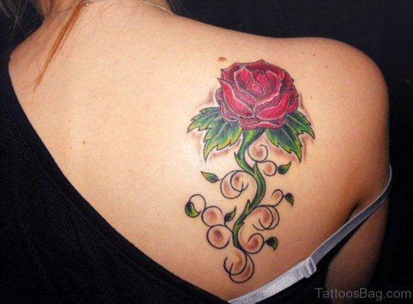 Attractive Rose Flower Tattoo Design