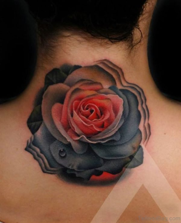 Attractive Rose Flower Tattoo On Neck