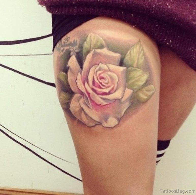 70 impressive rose tattoos for thigh. Black Bedroom Furniture Sets. Home Design Ideas