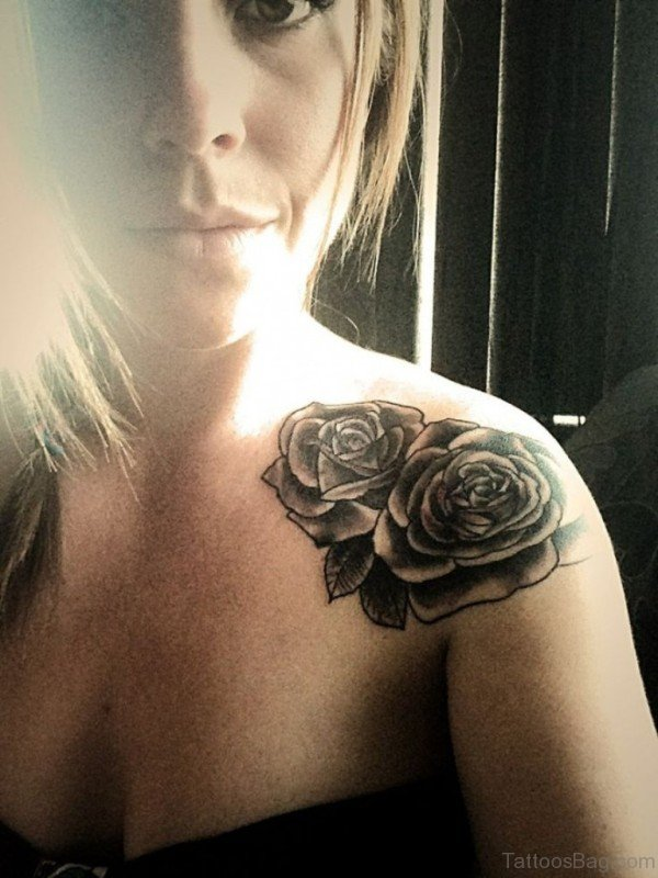 Attractive Rose Tattoo On Shoulder
