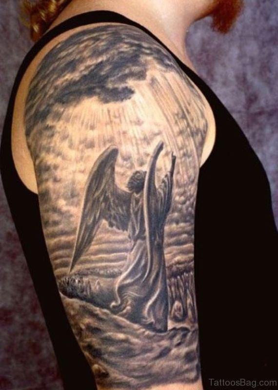 1fc9b05692d78 Attractive Shoulder Tattoo Of Angel