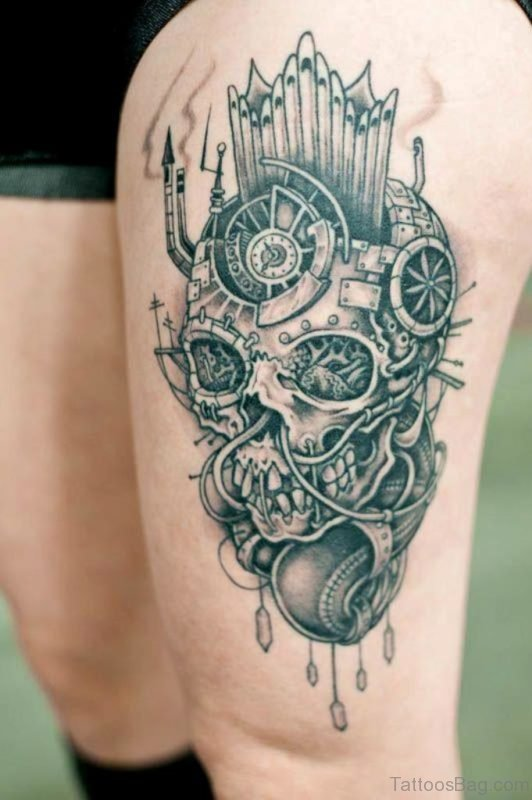 Attractive Skull Tattoo On Thigh