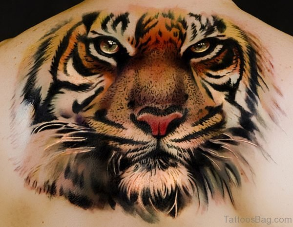 Attractive Tiger Tattoo On Back