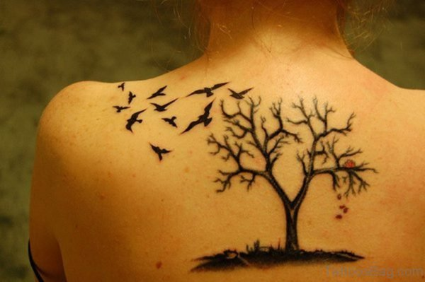 Birds And  Tree Tattoo Design On Back