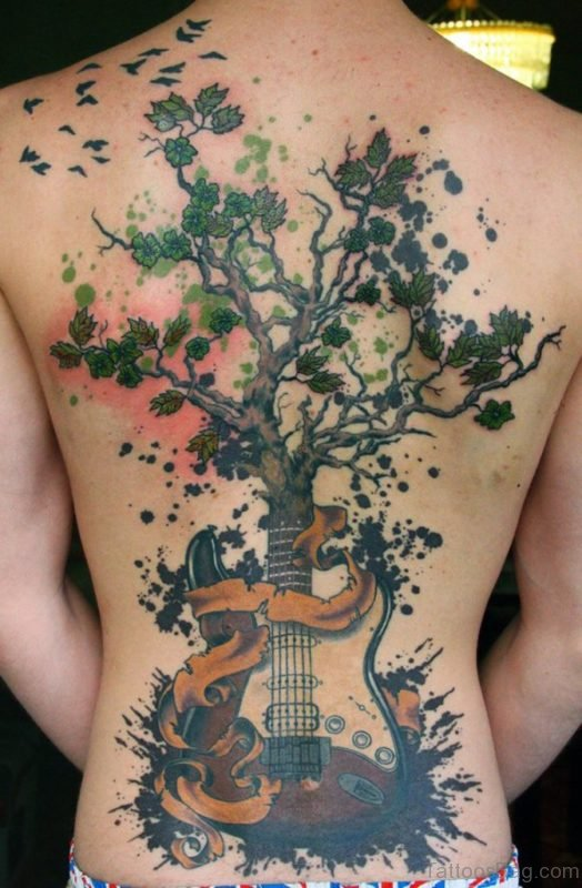 Attractive Tree Tattoo On Back