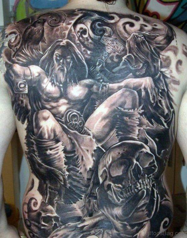 Attractive Viking Tattoo On Full Back